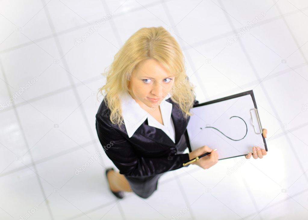 Top view of young woman with a represent folder in the office — Stock Photo #6863969