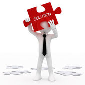 Man holding a red puzzle piece with the word, solution — Stock Photo