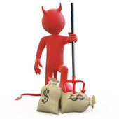Devil with his trident stuck in sack of dollars — Stock Photo