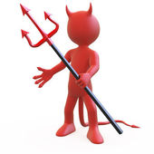 Devil posing threatening with his red and black trident — Stock Photo