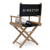 Film director's chair with a megaphone back view — Stok fotoğraf
