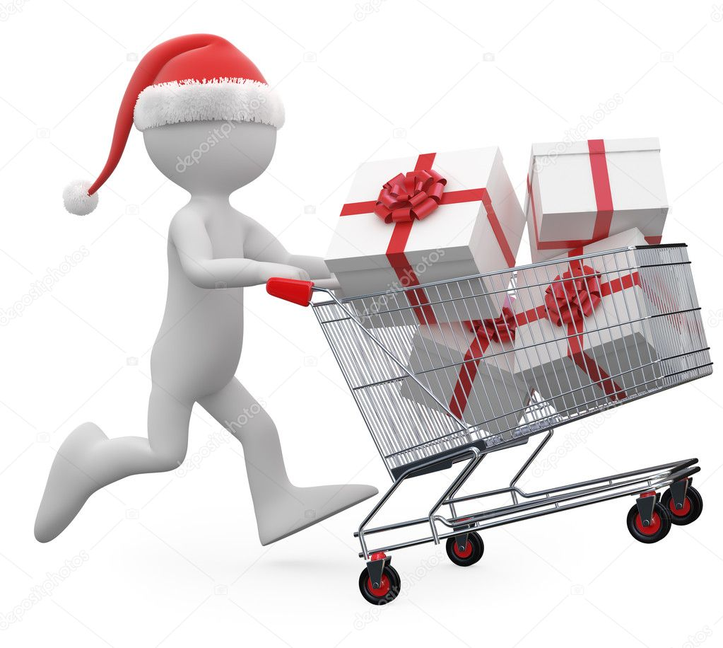 Man with Santa hat pushing a shopping cart full of gifts — Stock Photo #6770543