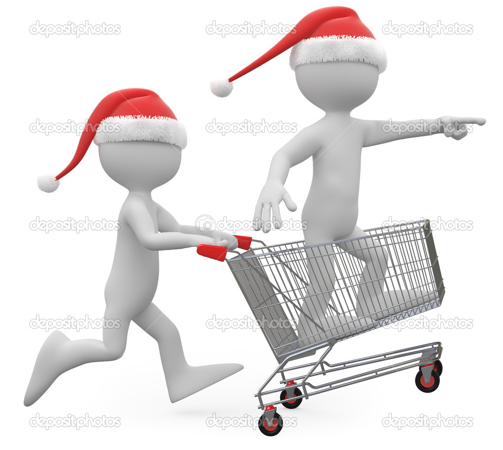 Man with Santa hat pushing a shopping cart with a man inside — Stock Photo #6770549