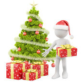 Santa Claus with a Christmas tree and some red Christmas gifts — Stock Photo