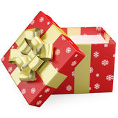 A red Christmas gift open with a gold ribbon — Foto de Stock