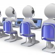 Employees working in a call center back view — Stock Photo