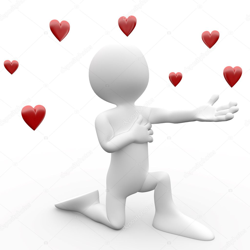 3d human making a declaration of love, kneeling — Stock Photo #7626376