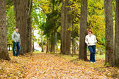 Couple stand leaning against a tree — Stock Photo