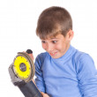 Boy with a grinder — Stock Photo