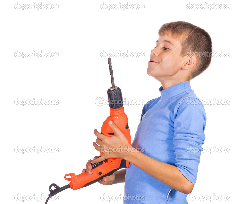 Boy with a drill. Isolated on white background — Stock Photo #6862019