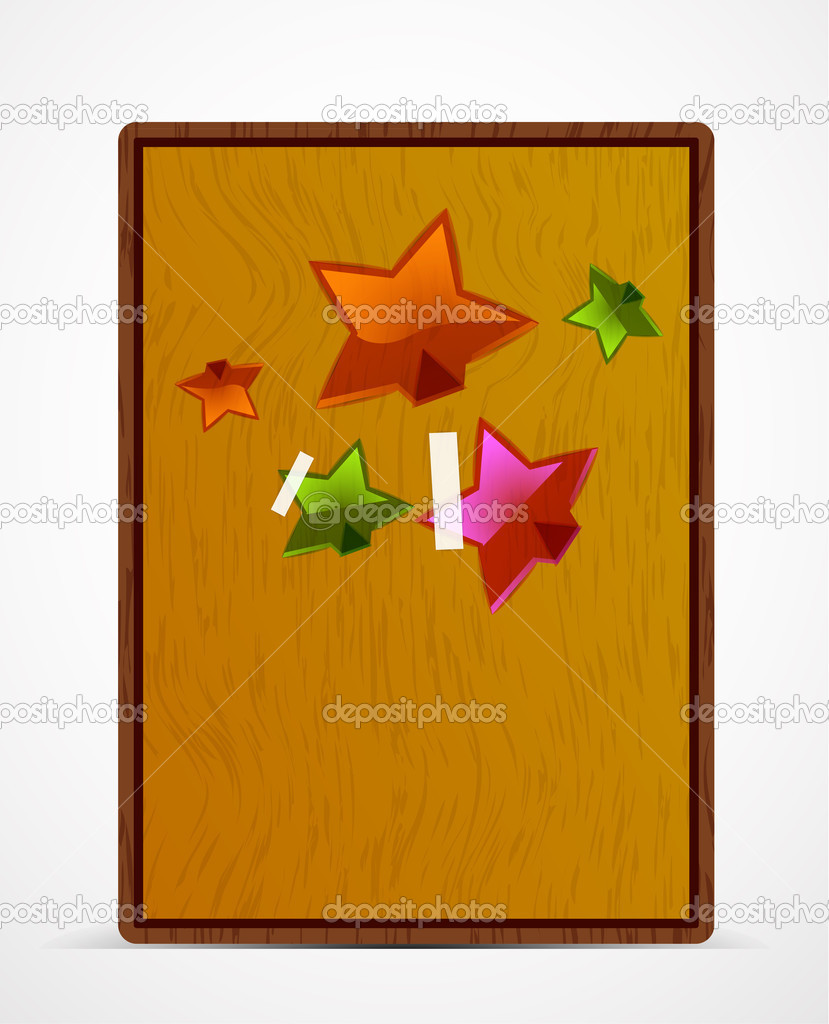 Wooden screen for your text with transparent  sticky stars — Stock Vector #7147286