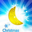 Vector moon christmas background — Stock Vector