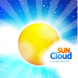 Vector sun on blue sky background — Stock Vector