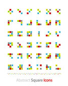 Set of abstract blocks made of squares — Stock Vector