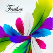Vector colorful feather background - Stock Vector