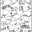 Set of hand drawn labels - Imagen vectorial