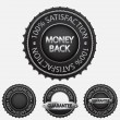100% satisfaction black badges — Stock Vector