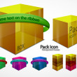 Web package boxes with ribbon - Stockvectorbeeld