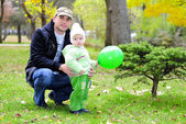 Small beautiful girl with father — Stock Photo