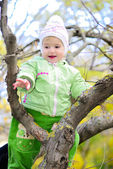 Small girl on tree by autumn — Stock Photo