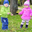Two small children on a green clearing with a balloon — Stock Photo