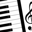 Treble clef and piano — Stock Photo #7140218