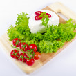 Curd (Polish Twarozek) with tomatoes - Stock Photo