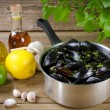 Stock Photo: Mussels with ingredients
