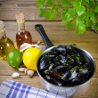 Mussels with ingredients — Stock Photo