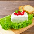 Curd (Polish Twarozek) with tomatoes — Stockfoto