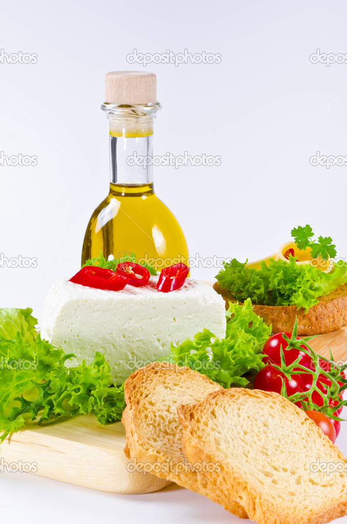 Light kitchen - rusk with Pfefersalami and cheese — Stock Photo #6868763