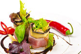 Aubergine beefs olive with Parma ham — Stock Photo