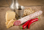 Hard cheese to me salami Purely Porc — Stock Photo