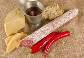Hard cheese to me salami Purely Porc — Stockfoto