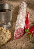 Salami pur porc — Zdjęcie stockowe