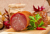 The Szoldra best Polish ham sausage — Stock Photo