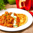 Hungarian goulash with potato pancakes — Stockfoto