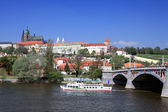 Panorama of Prague from the river — Stock Photo