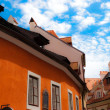 Orange roof of Czech homes. view from below — Stock Photo #7180147