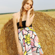 Stock Photo: A beautiful young girl in a dress stands near haystack of hay in the field