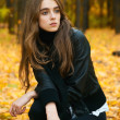 Young girl in autumn wood — Stock Photo