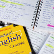 Stock Photo: Books and notebooks for learn English
