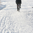 Bike on snow — Stock Photo