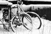 Bike under snow — Stock Photo