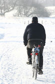 Bike on snow — Stock Photo