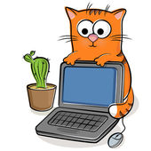 Nice cat with laptop — Stock Vector