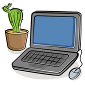 Laptop and green cactus — Stock Vector