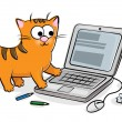 Stock Vector: Nice cat and laptop
