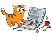 Nice cat and laptop — Stock Vector