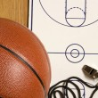Basketball, Whistle and Blank Clipboard — Stock Photo